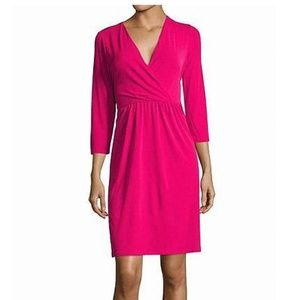 NWT! Tahari Pink 3/4 sleeve dress with tie in back